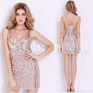 Gold Slipdress Spaghetti Strap Sequined Dress